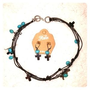 Turquoise and Silver Cross Choker/Earring Set